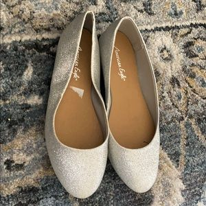 Cute silver glittered flat shoes